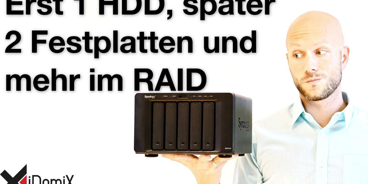 Synology DiskStation erst mit einer Festplatte dann weitere hinzufügen und als RAID konvertieren