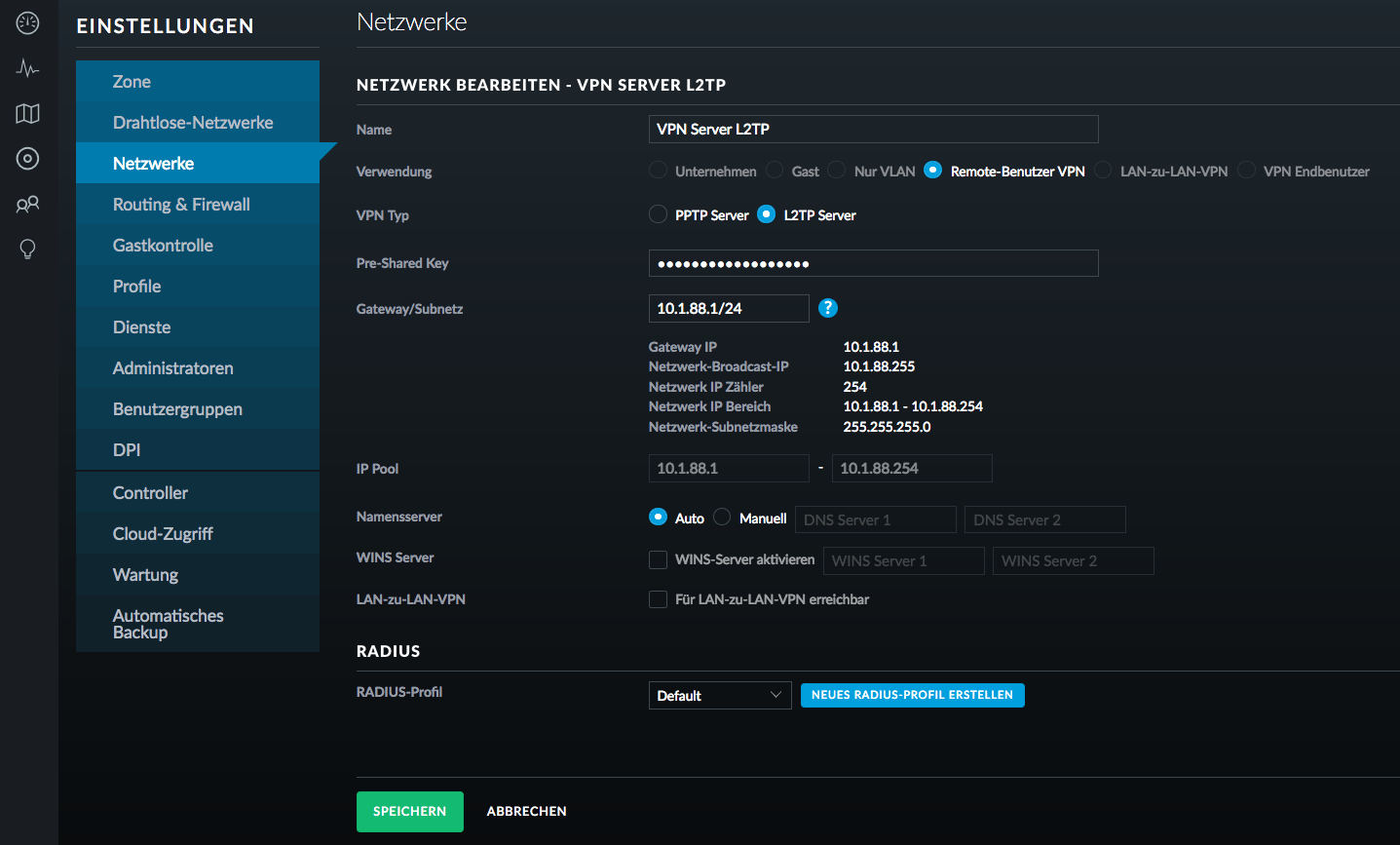 How to configure L2TP VPN on the UniFi Security Gateway?