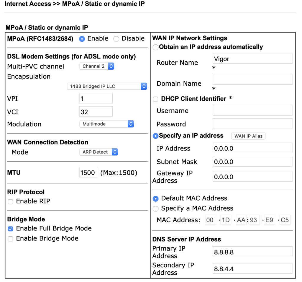 Supervectoring, Draytek Vigor 165 als Modem einrichten - iDomiX